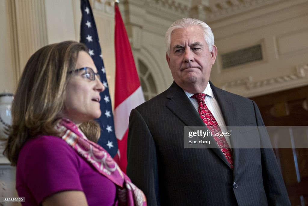 Rex Tillerson, U.S. secretary of State, right, listens as Chrystia Freeland, Canada's minister of foreign affairs, speaks during a meeting at the State Department in Washington, D.C., U.S., on Wednesday, Aug. 16, 2017. Starting today the first round of North American Free Trade Agreement (NAFTA) renegotiations began with Canada and Mexico largely wanting to defend the advantages they have enjoyed under the two-decade-old Nafta deal, keep it free of tariffs and broaden it to new industries. President Donald Trump has called Nafta the worst trade pact in history and promised to fix it through negotiations or withdraw. Photographer: Andrew Harrer/Bloomberg via Getty Images