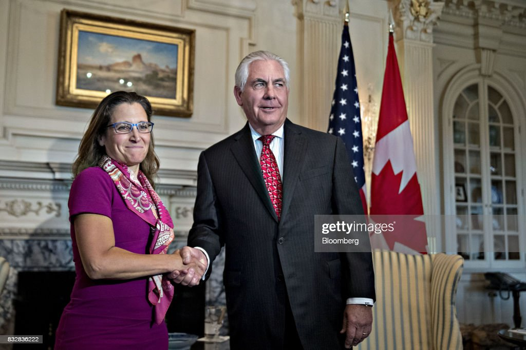 Rex Tillerson, U.S. secretary of State, right, shakes hands with Chrystia Freeland, Canada's minister of foreign affairs, while meeting at the State Department in Washington, D.C., U.S., on Wednesday, Aug. 16, 2017. Starting today the first round of North American Free Trade Agreement (NAFTA) renegotiations began with Canada and Mexico largely wanting to defend the advantages they have enjoyed under the two-decade-old Nafta deal, keep it free of tariffs and broaden it to new industries. President Donald Trump has called Nafta the worst trade pact in history and promised to fix it through negotiations or withdraw. Photographer: Andrew Harrer/Bloomberg via Getty Images