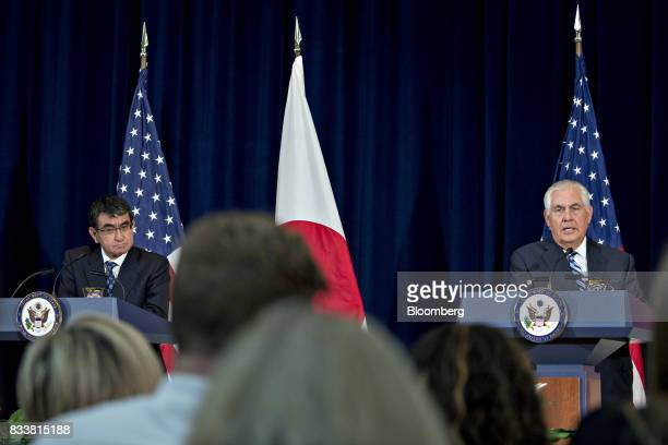 Rex Tillerson US secretary of State right speaks as Taro Kono Japan's foreign minister listens at a news conference during the Security Consultative...