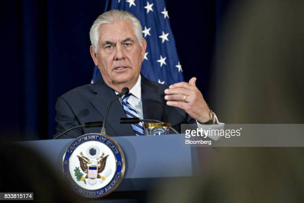 Rex Tillerson US secretary of State speaks at a news conference during the Security Consultative Committee meeting at the State Department in...