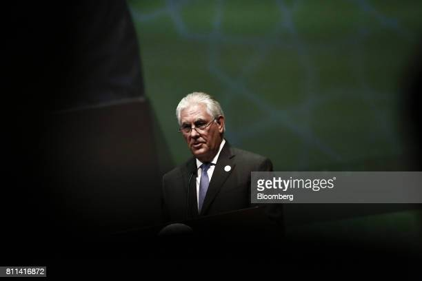 Rex Tillerson US Secretary of State speaks during the 22nd World Petroleum Congress in Istanbul Turkey on Sunday July 9 2017 The World Petroleum...