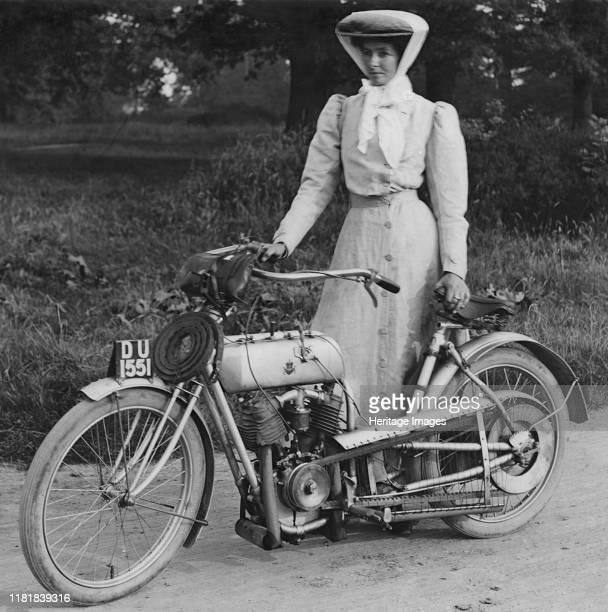 Rex with motorcyclist Muriel Hind. Creator: Unknown.