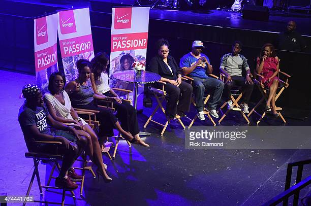 Rey Fonder Maria Wills Gail Brooks Ashley Carter Jonniece Wescott Antoine Donte Joshua King and Josina Anderson speak onstage as Verizon Takes The...