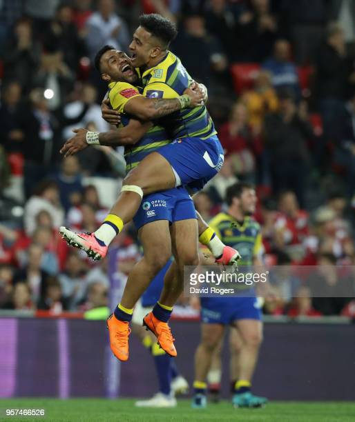 Rey LeeLo and Willis Halaholo of Cardiff celebrate their victory during the European Rugby Challenge Cup Final match between Cardiff Blues v...