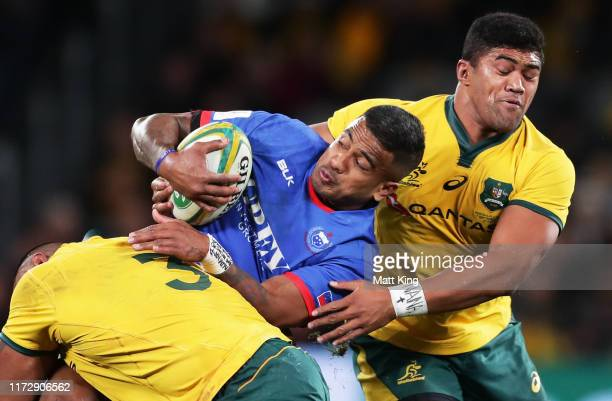 Rey Lee-Lo of Samoa is tackled during the International Test match between the Australian Wallabies and Manu Samoa at Bankwest Stadium on September...