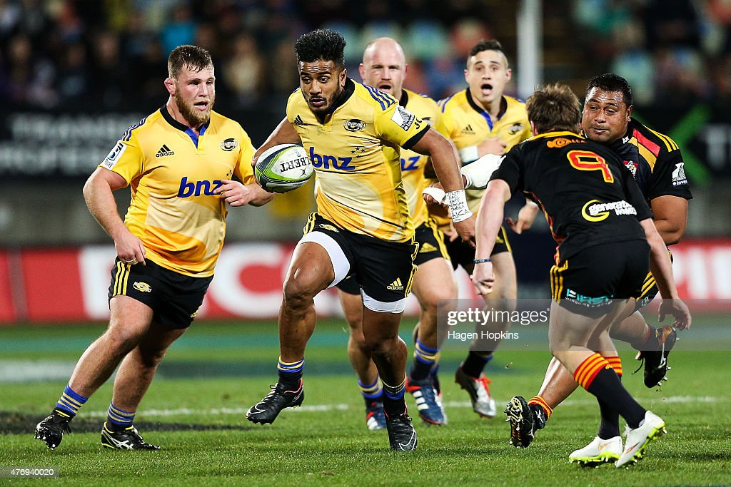 Rey Lee-Lo of the Hurricanes makes a break during the round 18 Super Rugby match between the Chiefs and the Hurricanes at Yarrow Stadium on June 13, 2015 in New Plymouth, New Zealand.
