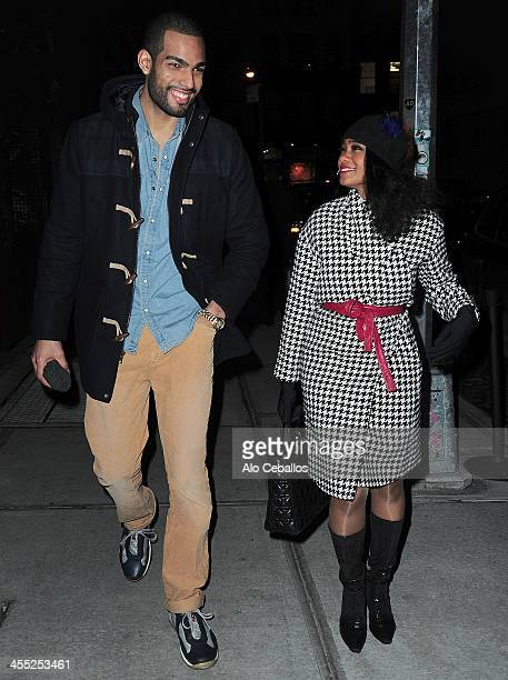 Rey Lopez and Tatyana Ali are seen in Soho on December 11 2013 in New York City
