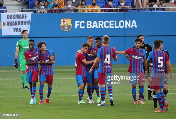 Rey Manaj goal celebration during the friendly match between FC Barcelona and Club Gimnastic de Tarragona, played at the Johan Cruyff Stadium on 21th...
