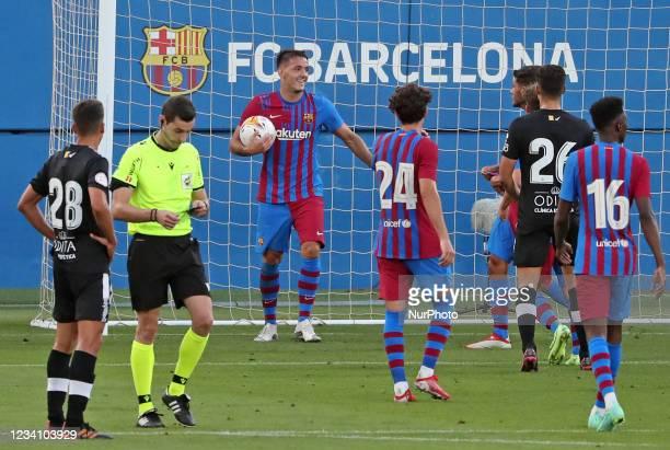 Rey Manaj hat trick celebration during the friendly match between FC Barcelona and Club Gimnastic de Tarragona, played at the Johan Cruyff Stadium on...