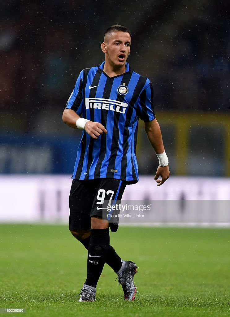 Rey Manaj of FC Internazionale reacts during the Serie A match between FC Internazionale Milano and Atalanta BC at Stadio Giuseppe Meazza on August 23, 2015 in Milan, Italy.
