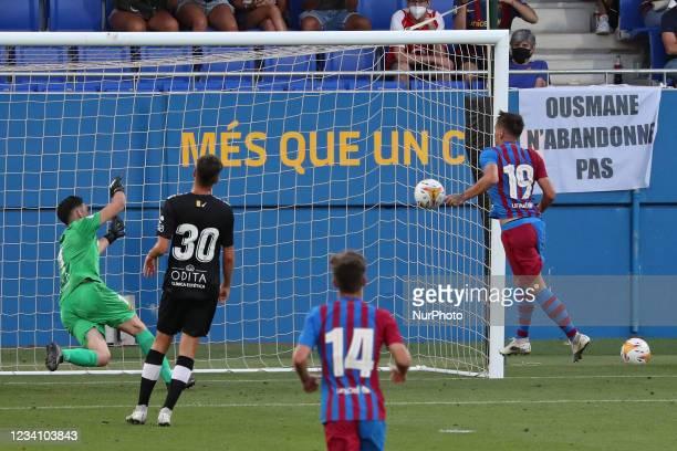 Rey Manaj scores during the friendly match between FC Barcelona and Club Gimnastic de Tarragona, played at the Johan Cruyff Stadium on 21th July...