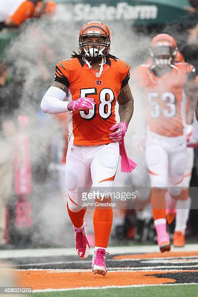 Rey Maualuga of the Cincinnati Bengals takes the field for the game against the Carolina Panthers at Paul Brown Stadium on October 12 2014 in...