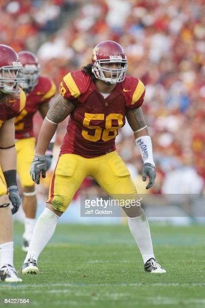 Rey Maualuga of the USC Trojans lines up against the UCLA Bruins on December 6, 2008 at the Rose Bowl in Pasadena, California. USC won 28-7.