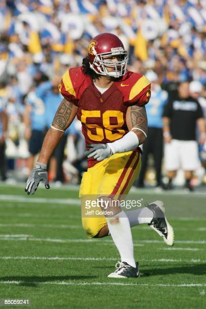 Rey Maualuga of the USC Trojans pursues the play against the UCLA Bruins on December 6, 2008 at the Rose Bowl in Pasadena, California. USC won 28-7.