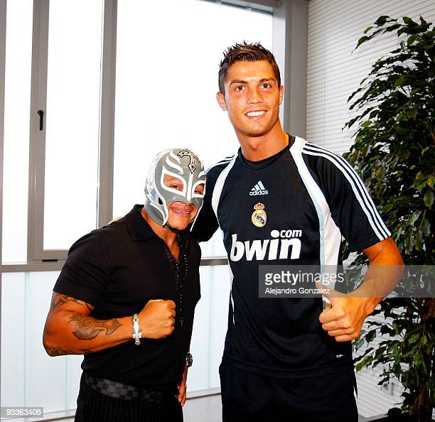 Rey Misterio poses with Cristiano Ronaldo of Real Madrid as he visits Valdebebas on November 13, 2009 in Madrid, Spain.