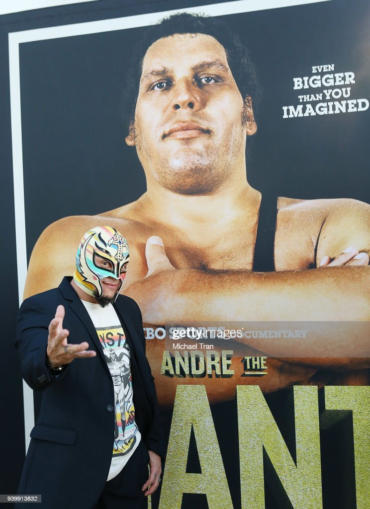 Rey Mysterio arrives to HBO World Premiere of 'Andre The Giant' held at ArcLight Cinerama Dome on March 29, 2018 in Hollywood, California.