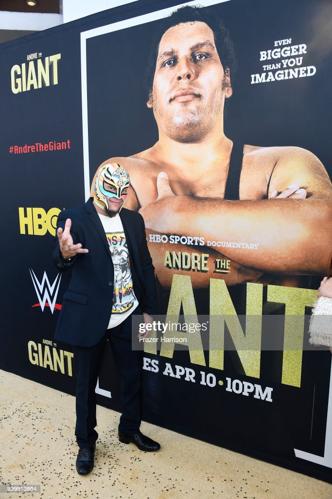 Rey Mysterio attends the Premiere Of HBO's 'Andre The Giant' at The Cinerama Dome on March 29, 2018 in Los Angeles, California.