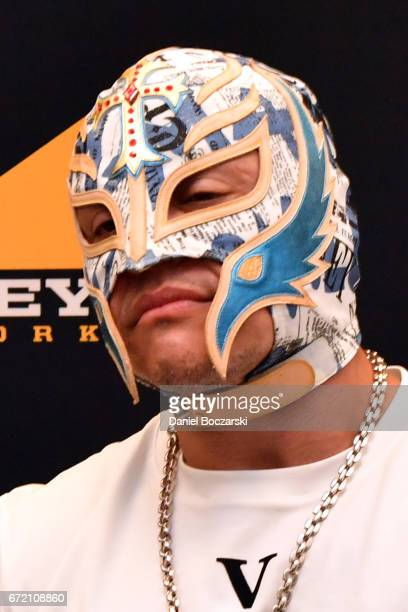 Rey Mysterio attends the press room for 'Lucha Underground' during C2E2 Chicago Comic and Entertainment Expo at McCormick Place on April 23 2017 in...