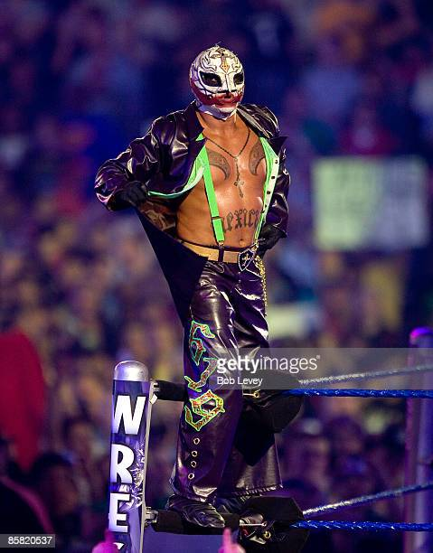 Rey Mysterio celebrates his victry over JBL for the Intercontinental Championship at 'WrestleMania 25' at the Reliant Stadium on April 5 2009 in...