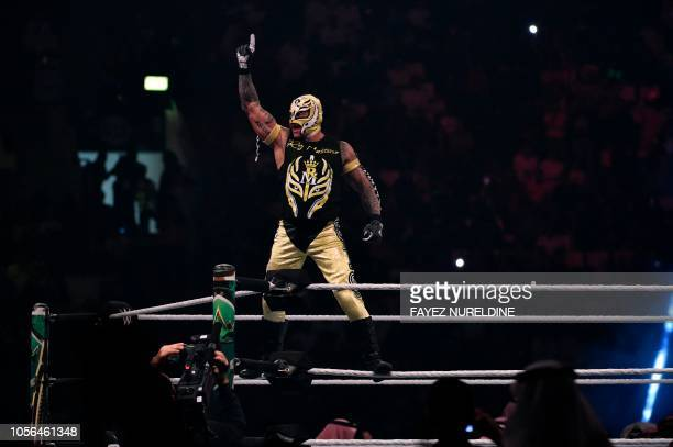 Rey Mysterio greets the crowd during the WWE World Cup Quarterfinal match as part of as part of the World Wrestling Entertainment Crown Jewel...