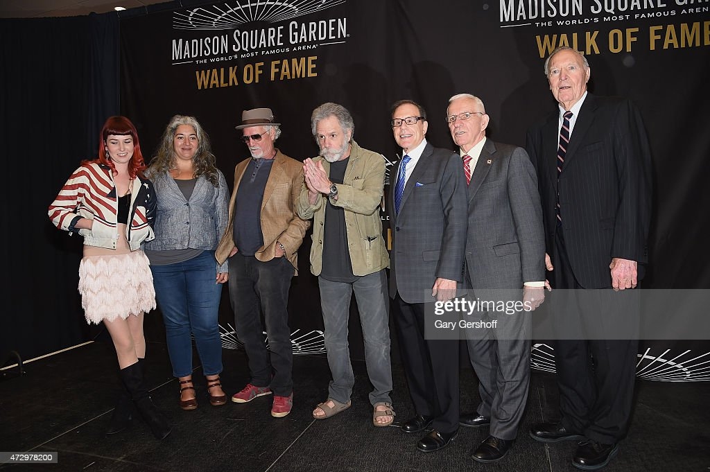 Reya Hart, Trixie Garcia, Bill Kreutzmann, Bob Weir, George Kalinsky, Eddie Giacomin and Harry Gallatin attend the Madison Square Garden 2015 Walk Of Fame Inductions at Madison Square Garden on May 11, 2015 in New York City.