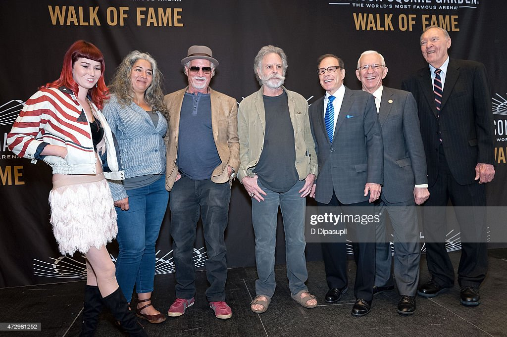 Reya Hart, Trixie Garcia, Bill Kreutzmann, Bob Weir, George Kalinsky, Eddie Giacomin, and Harry Gallatin attend the Madison Square Garden 2015 Walk Of Fame Inductions at Madison Square Garden on May 11, 2015 in New York City.
