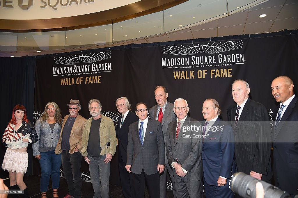 Reya Hart, Trixie Garcia, Bill Kreutzmann, Bob Weir, Jim Kerr, George Kalinsky, Bill Bradley, Eddie Giacomin, Rod Gilbert, Harry Gallatin and John Starks attend the Madison Square Garden 2015 Walk Of Fame Inductions at Madison Square Garden on May 11, 2015 in New York City.