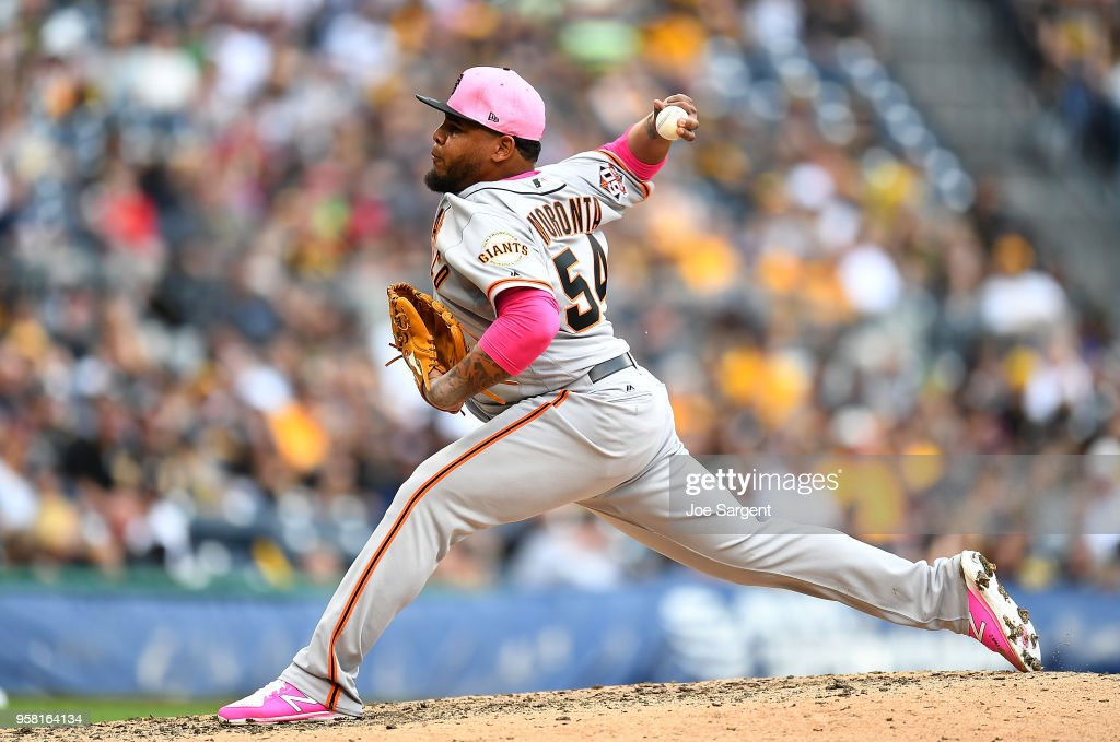 Reyes Moronta #54 of the San Francisco Giants pitches during the seventh inning against the Pittsburgh Pirates at PNC Park on May 13, 2018 in Pittsburgh, Pennsylvania.