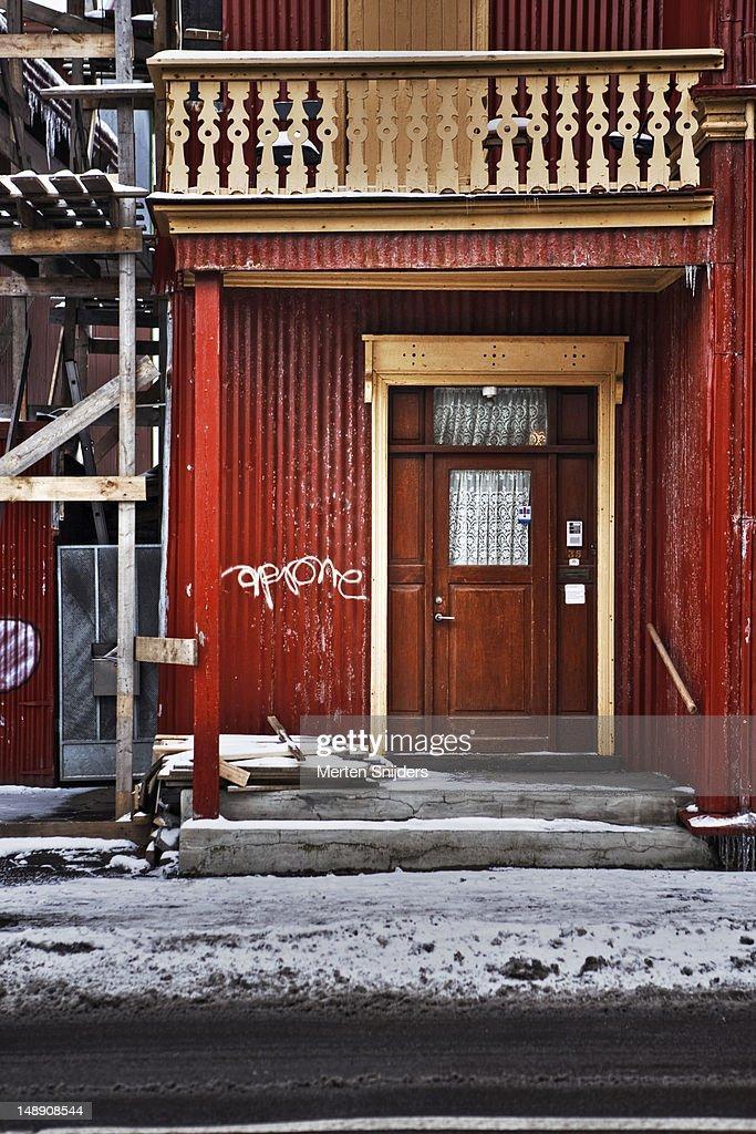 Reykjavik building and doorway. : Stockfoto
