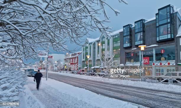 Reykjavik City Center after large snowstorm, Iceland