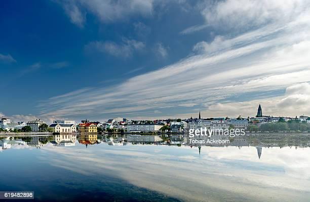 reykjavik city view - reykjavik stock pictures, royalty-free photos & images