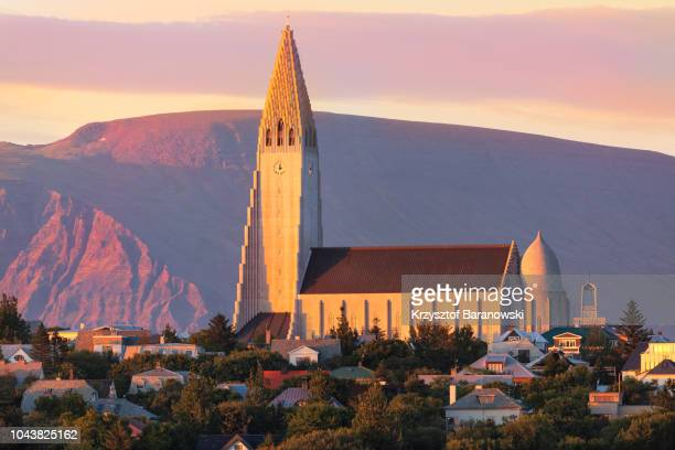 reykjavik hallgrimskirkja sunset - reykjavik stock pictures, royalty-free photos & images