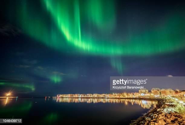 reykjavik northern light - reykjavik stock pictures, royalty-free photos & images