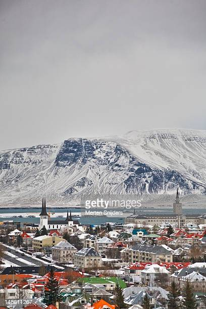 reykjavik overview, looking towards surrounding fjords. - merten snijders stock pictures, royalty-free photos & images
