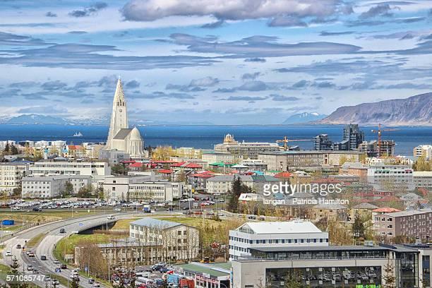 reykjavik with hallgrimskirkja - reykjavik stock pictures, royalty-free photos & images