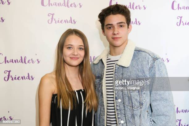 Reylynn Caster and Joshua Bassett attend Chandler's Friends Toy Drive and Wrapping Party at Los Angeles Ballet Academy on December 10 2017 in Encino...