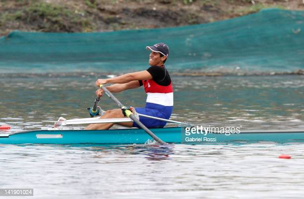 Reynaldo Daniel Sosa Bertoni of Paraguay rows during the Men's Single Scull final B during the Latin American Rowing Pre Olympic Tournament at...