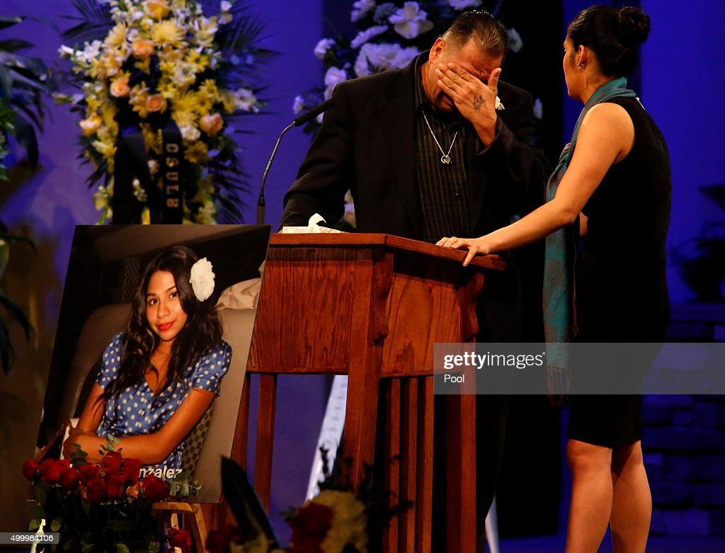 Reynaldo Gonzalez breaks down while remembering his daughter Nohemi Gonzalez, Paris attack victim, at her funeral at the Calvary Chapel on December 4, 2015 in Downey, California. Gonzalez was the 23 year-old Cal State Long Beach student who was killed while dining with friends at a bistro in Paris last month. Gonzalez, from El Monte, was a senior majoring in industrial design and one of 17 CSULB students attending Strate College of Design in Paris as part of a study abroad program. She was one of 129 people killed in the coordinated attacks.