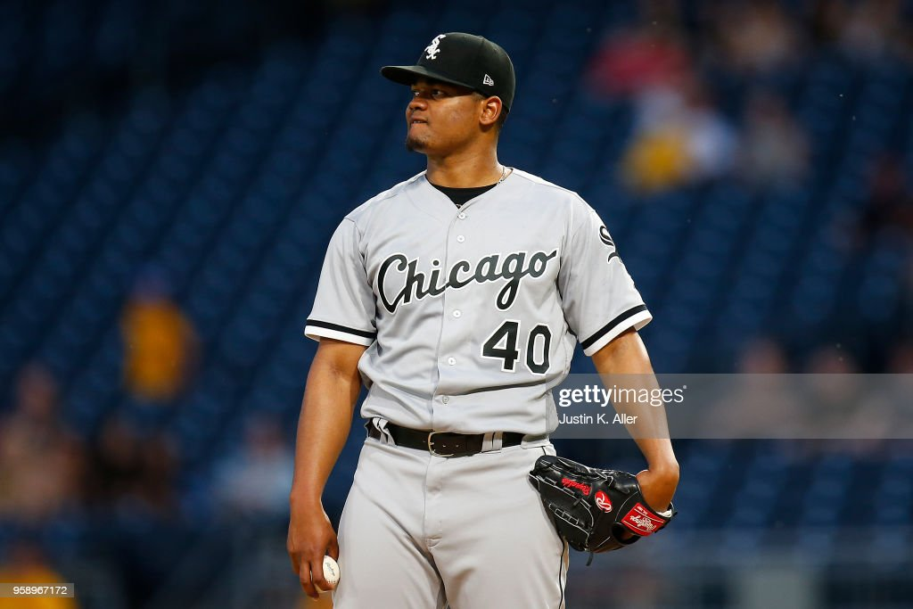 Reynaldo Lopez #40 of the Chicago White Sox after giving up six runs on seven hits through two innings against the Pittsburgh Pirates at PNC Park on May 15, 2018 in Pittsburgh, Pennsylvania.