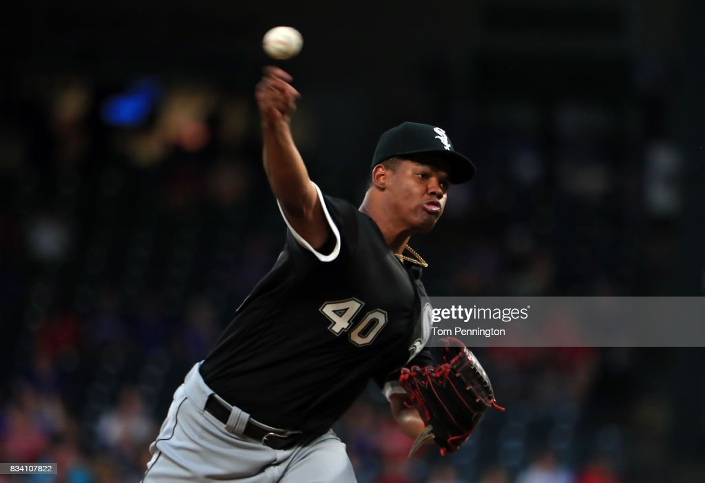 Reynaldo Lopez #40 of the Chicago White Sox pitches against the Texas Rangers in the bottom of the first inning at Globe Life Park in Arlington on August 17, 2017 in Arlington, Texas.