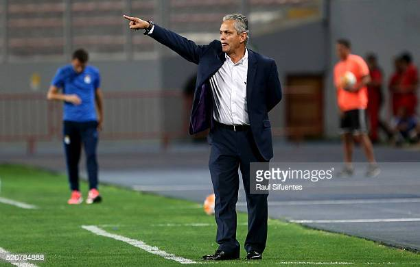 Reynaldo Rueda coach of Atletico Nacional shouts instructions to his players during a match between Sporting Cristal and Atletico Nacional as part of...