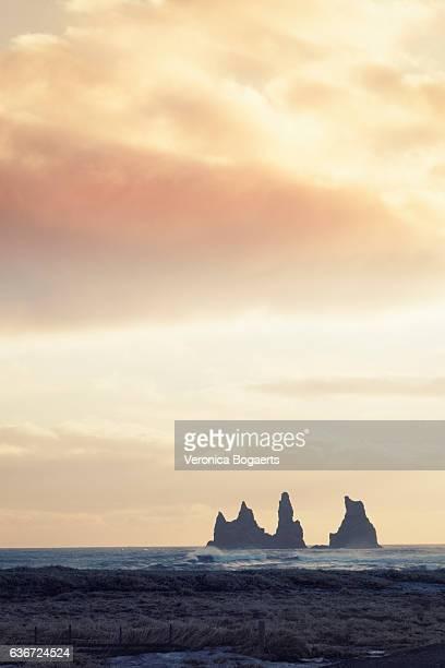 Reynisdrangar sea stacks in the Atlantic Ocean at