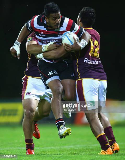 Reynold LeeLo of Counties is tackled during the round nine ITM Cup match between Counties Manukau and Southland at ECOLight Stadium on October 11...