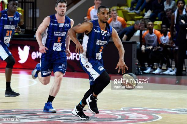 JR Reynolds and Quentin Serron of Gravelines during the Pro A match between Monaco and Gravelines Dunkerque on February 11 2018 in Monaco Monaco
