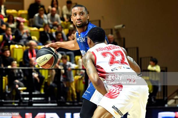 JR Reynolds of Gravelines and Gerald Robinson of Monaco during the Pro A match between Monaco and Gravelines Dunkerque on February 11 2018 in Monaco...