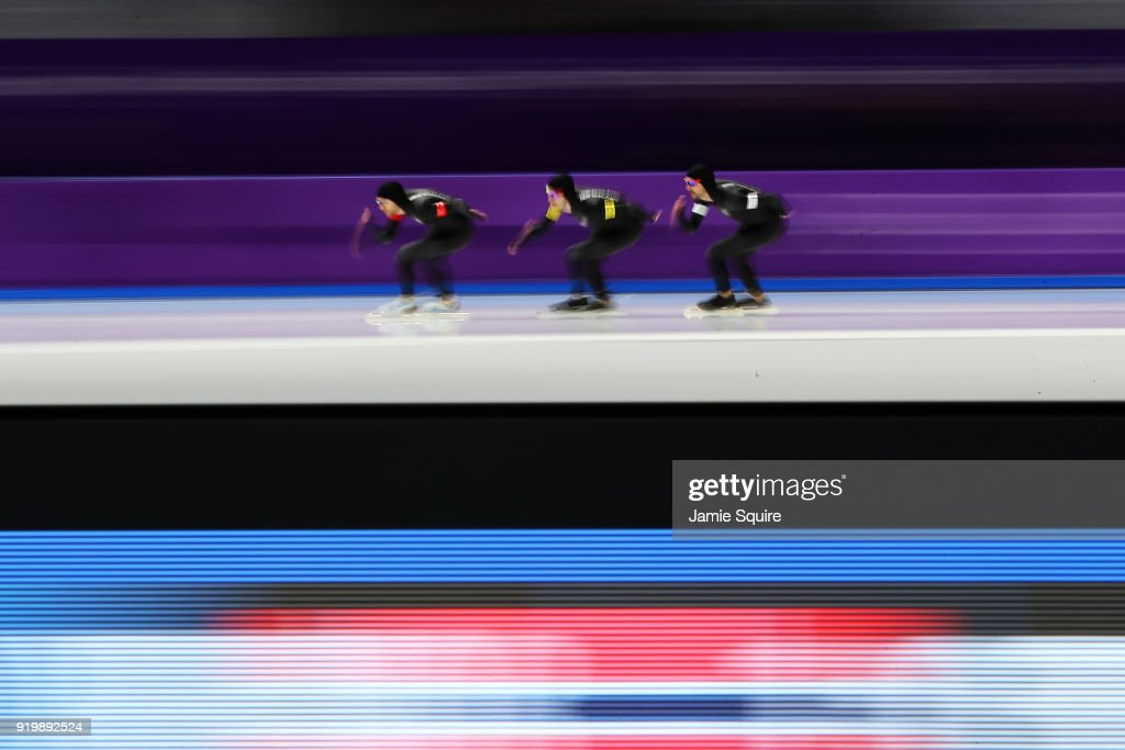 Reyon Kay, Peter Michael and Shane Dobbin of New Zealand compete during the Men's Team Pursuit Speed Skating Quarter Finals on day nine of the PyeongChang 2018 Winter Olympic Games at Gangneung Oval on February 18, 2018 in Gangneung, South Korea.