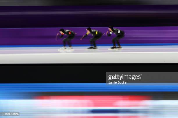 Reyon Kay Peter Michael and Shane Dobbin of New Zealand compete during the Men's Team Pursuit Speed Skating Quarter Finals on day nine of the...