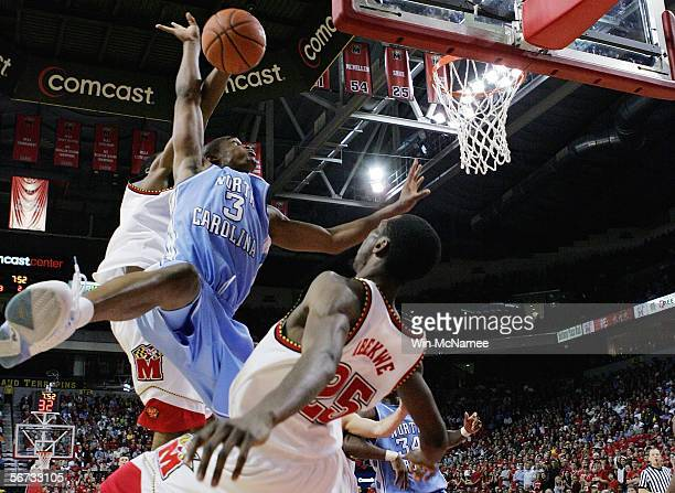 Reyshawn Terry of the North Carolina Tar Heels drives to the basket against Ekene Ibekwe of the Maryland Terrapins during second half action February...