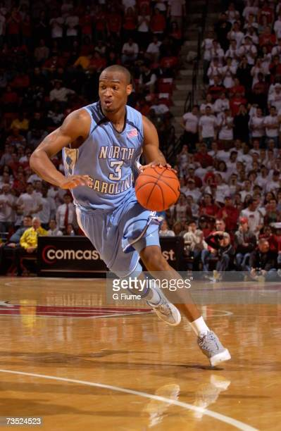 Reyshawn Terry of the North Carolina Tar Heels handles the ball against the Maryland Terrapins against February 25 2007 at Comcast Center in College...