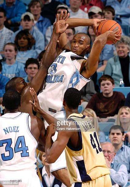 Reyshawn Terry of the North Carolina Tar Heels looks to pass during a game against the Georgia Tech Yellow Jacketson February 15 at the Dean Smith...